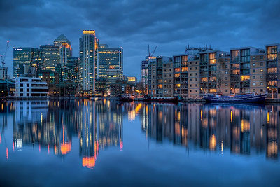 Canary Wharf view from Millwall Outer Dock